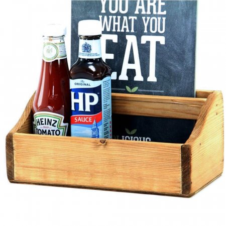 Oxford Wooden Condiment Box with Menu Close Up