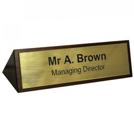 Desk Sign Wood & Solid Brass Plate