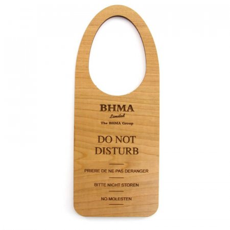 Cherry Veneer Wooden Do Not Disturb Door Hangers, Back