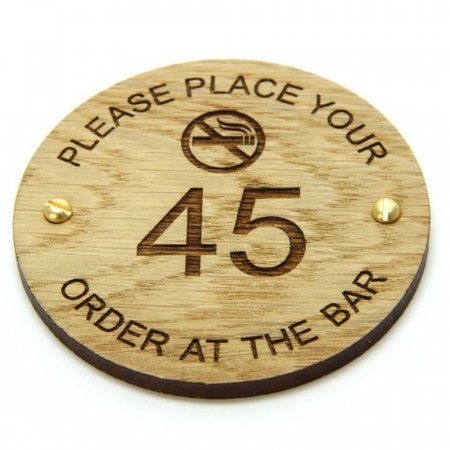 Wooden Table Information Discs - Place Your Order At The Bar