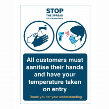 All Customers Must Sanitise & Have Temperature Check