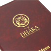 Douglas Menu Cover A4 Burgundy with Tag Fixings and gold logo