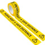 50mm Wide Floor Marking Tape - Please Keep a Safe Distance - 66M Roll