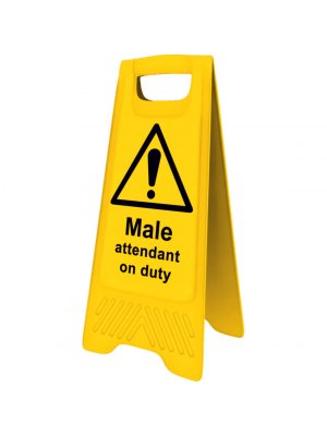 Yellow Male Attendant on Duty Sign