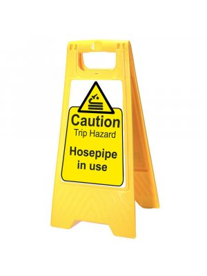 Hosepipe in Use Yellow Warning Sign