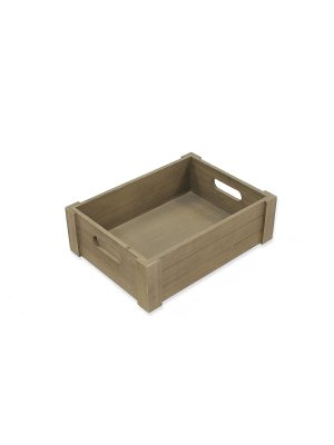 Vintage Grey Shallow Wooden Crate