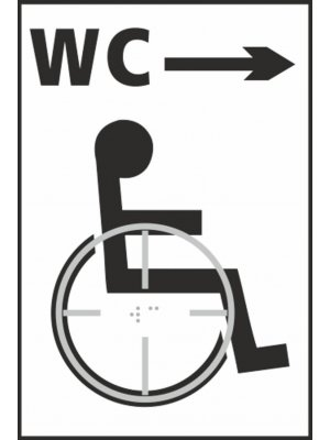 Disabled WC Toilet (with right arrow) Braille Sign