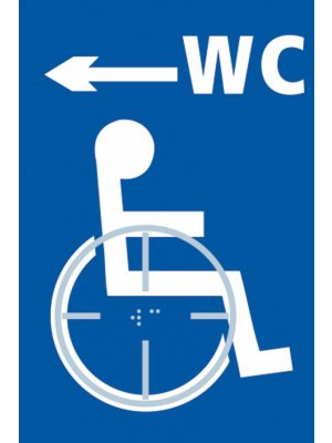 Disabled WC Toilet (with left arrow) Braille Sign