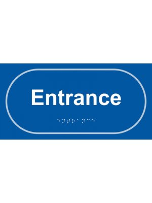 Entrance Taktyle Braille Plastic Sign, Self-Adhesive, Blue