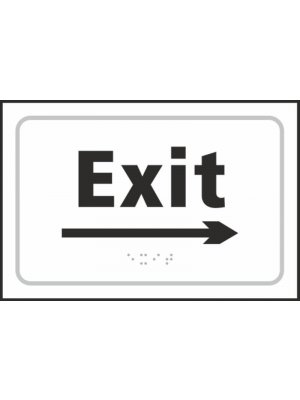 Exit (with right arrow) Braille Sign