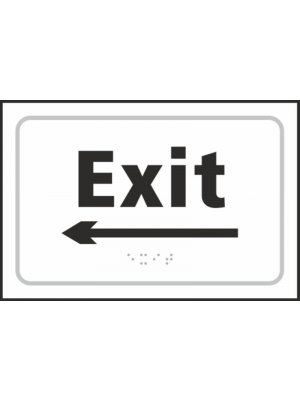 Exit (with left arrow) Braille Sign