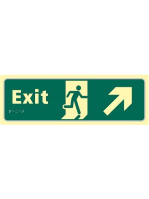 Exit Photoluminescent Braille Sign