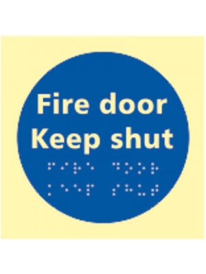 Fire Door Photoluminescent Braille Sign