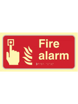 Fire Alarm Photoluminescent Braille Sign