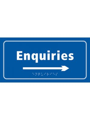 Enquiries (with arrow) Taktyle Braille Plastic Sign, Self-Adhesive, Blue