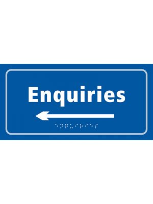 Enquiries Taktyle Braille Plastic Sign, Self-Adhesive, Blue
