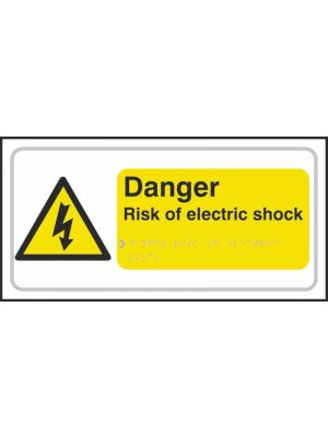 Danger Risk of Electric Shock Braille Sign