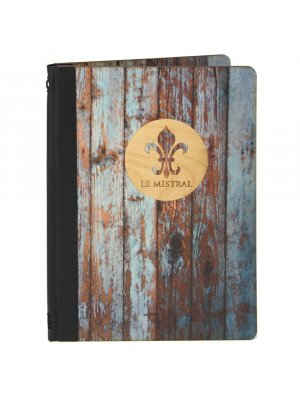 Wooden Menu Cover, Distressed Finish