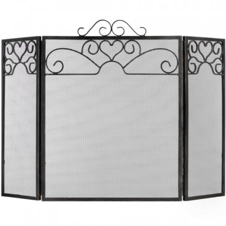 Heart Motif Black Brushed Steel Fire Screen - 25""