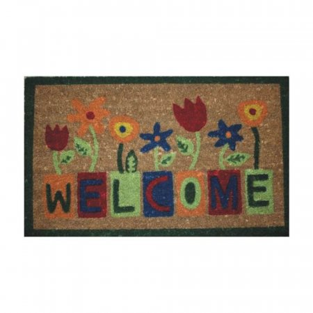 Floral Welcome Doormat with Anti-Slip Rubber Backing