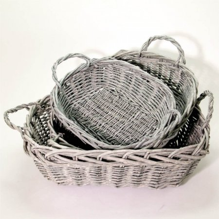 Set of 3 Gorgeous Grey Rectangular Baskets