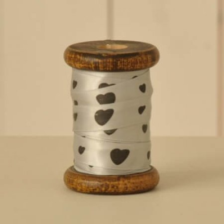 Heart Ribbon on Wooden Bobbin