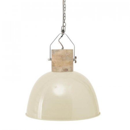 Merle Cream and Wood Pendant Light - Large