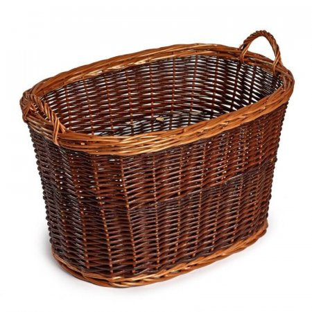 Gorgeous Oval Buff Unpeeled Wicker Log Basket
