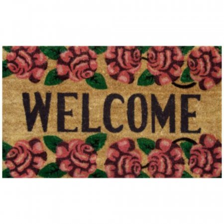Roses Welcome Doormat with Anti-Slip Rubber Backing