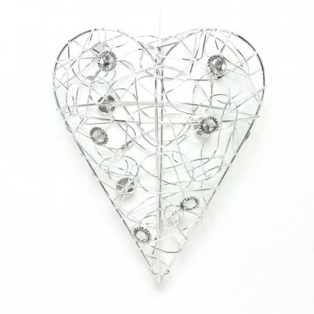 Small Wire Heart with Crystals - Wall Decoration