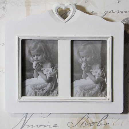 Double Photo Frame with Cut Out Heart