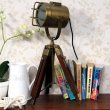 Redwood & Brass Tripod Lamp Side