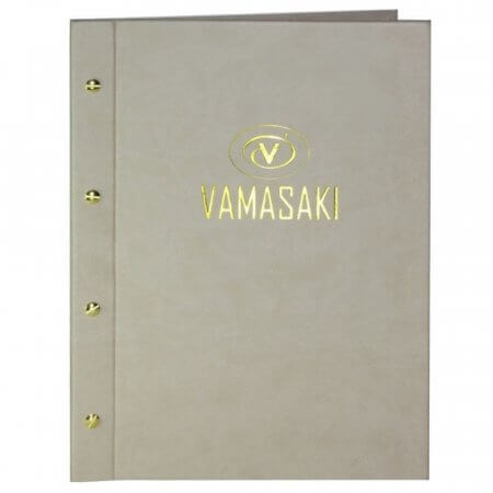 Natural Laxey Menu Cover with Gold Logo