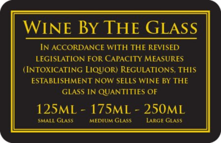 Wine by the Glass 125 - 175 - 250ml Sign (110 x 170mm)