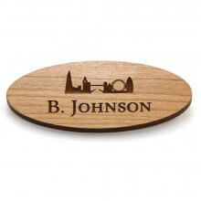 Oval Wooden Name Badges