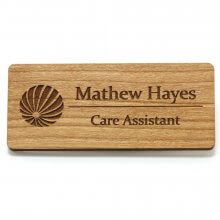 Large Rectangle Wooden Name Badges - Front
