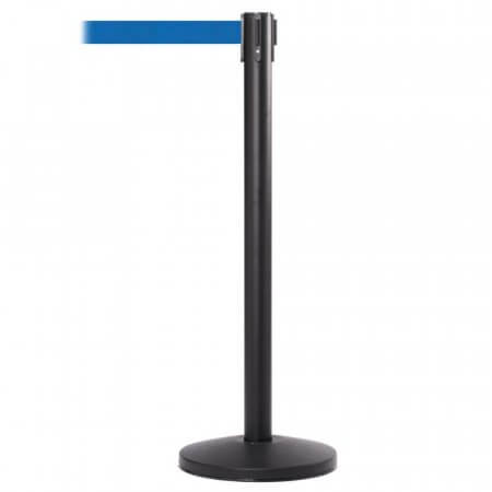 Black Post with Blue Retractable Belt