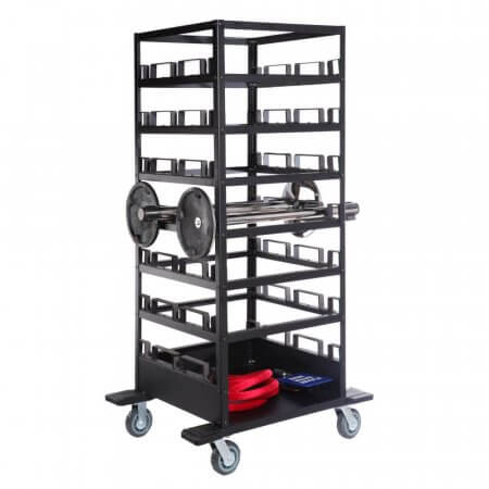 21 Post Horizontal Storage Cart with Stanchion