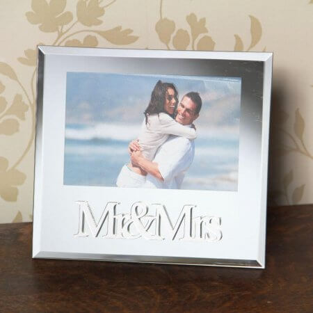 Mr & Mrs Mirror Glass Photo Frame