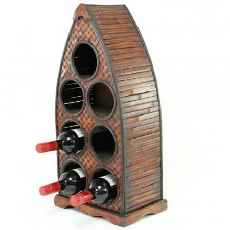 Arched Wooden Wine Rack - Holds 7 Bottles