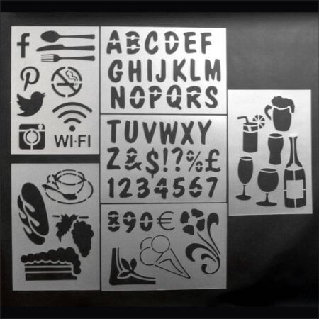 Re-usable Food & Drink Themed Chalkboard Stencils,