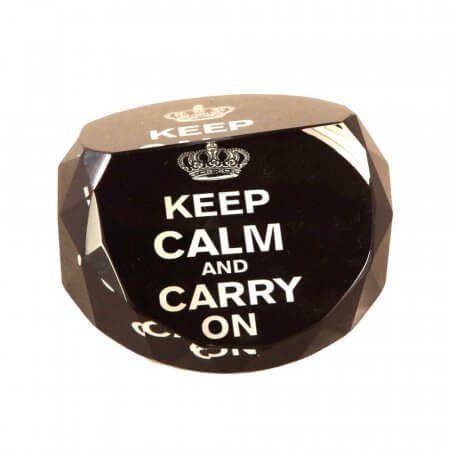 Keep Calm and Carry On Glass Paperweight