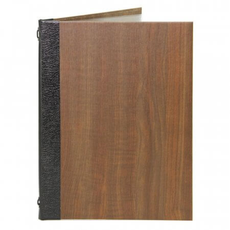 Dark Oak Effect Menu Cover with Black Leather Spine