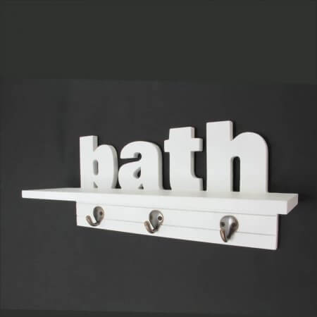 White Wooden Bath Hooks & Shelf