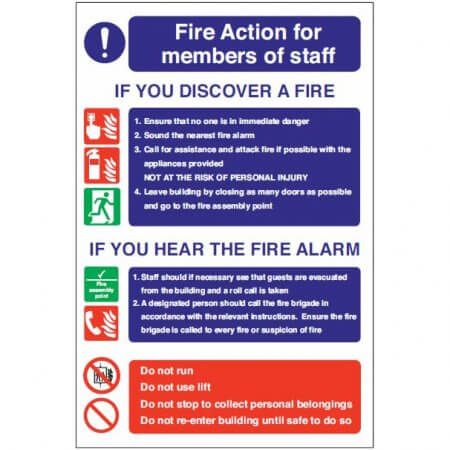 Self Adhesive Vinyl - Fire Action Members Of Staff Sign