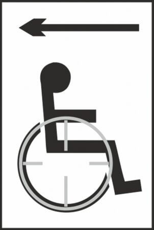 Disabled Access (with left arrow) Braille Sign