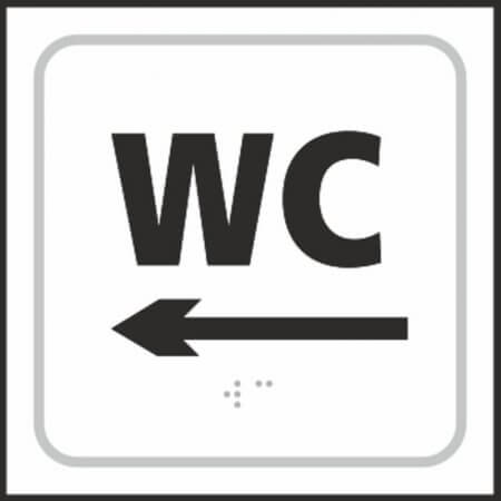 WC Toilet (with left arrow) Braille Sign