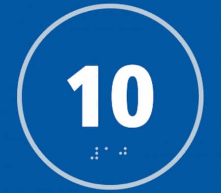 Number Ten Braille Sign