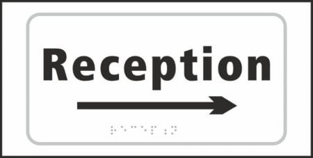 Reception (with right arrow) Braille Sign