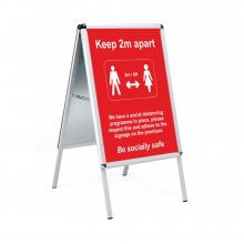 Social Distancing Outdoor Posters - A2 in Snap Frame A-board